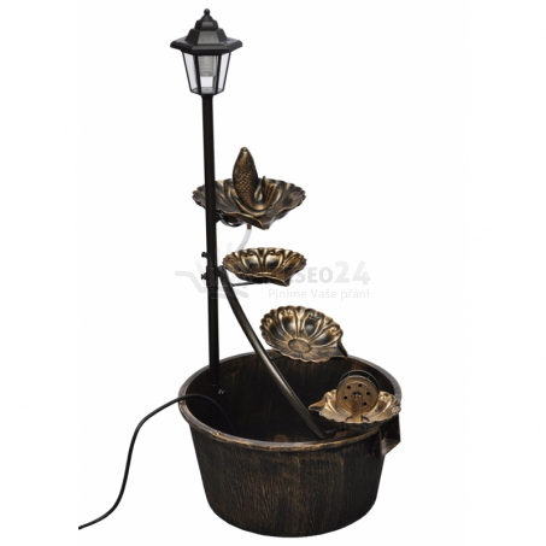 Zahradní kašna - fontána se zlatou rybkou, LED