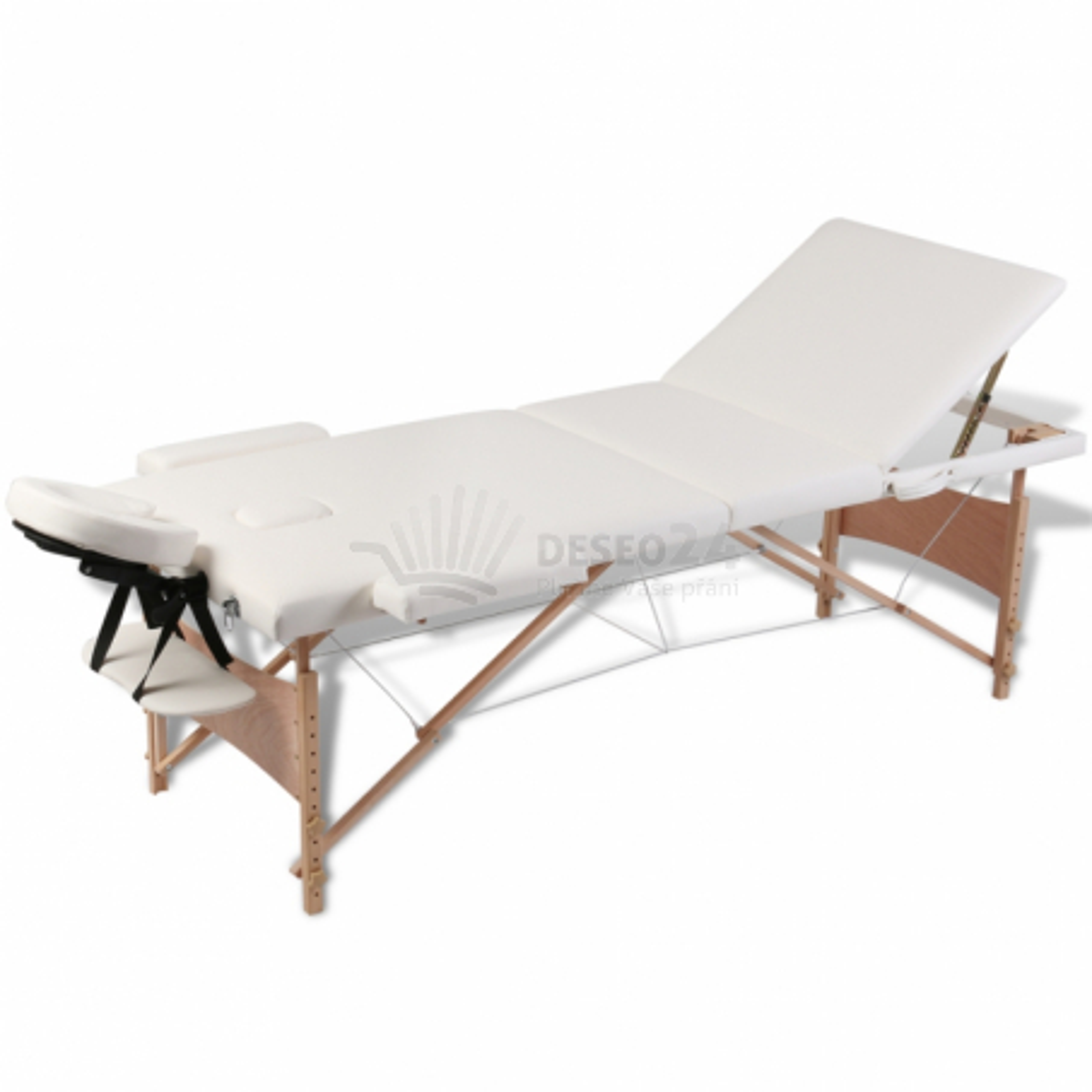 Krémově bílý skládací masážní stůl se 3 zónami a dřevěným rámem