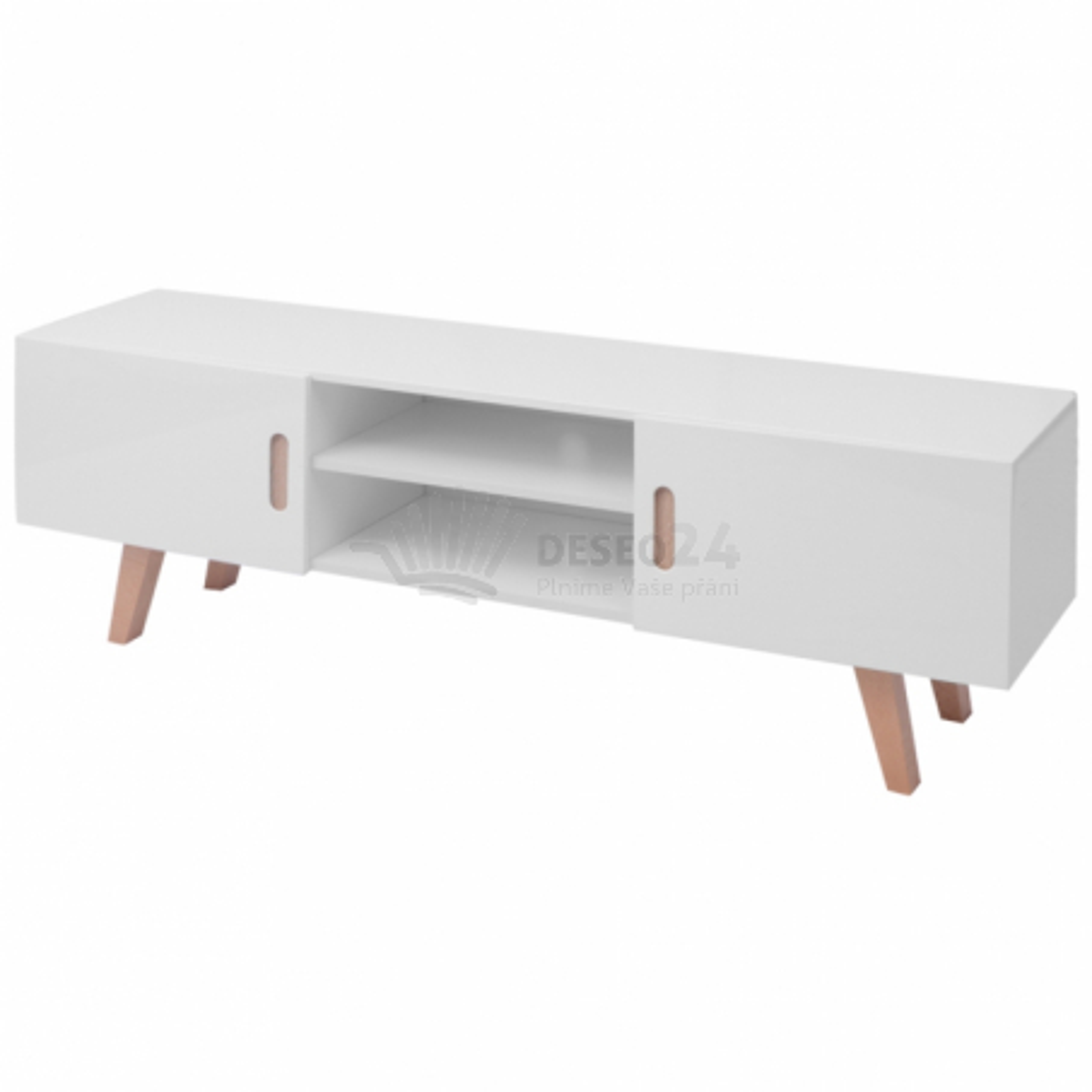 Vysoce lesklý TV stolek z MDF 150x46,5x48,5 cm, bílý