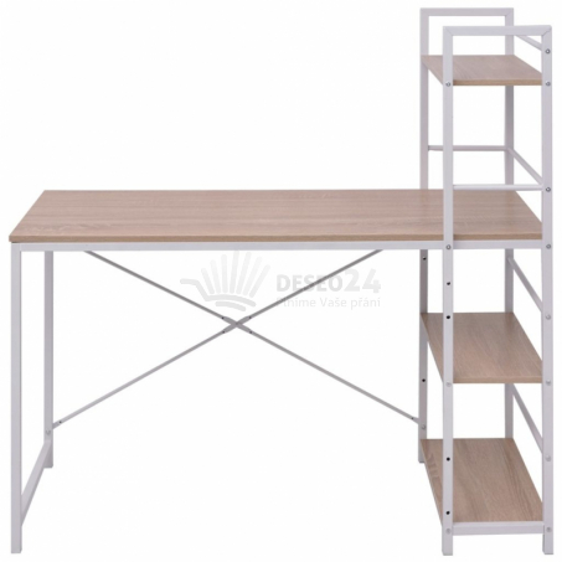 Pracovní stůl se 4 policemi dub [20134]
