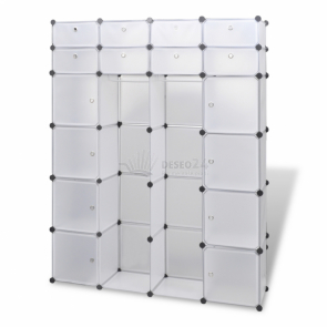 Modulární skříň s 18 přihrádkami bílá 37 x 150 x 190 cm