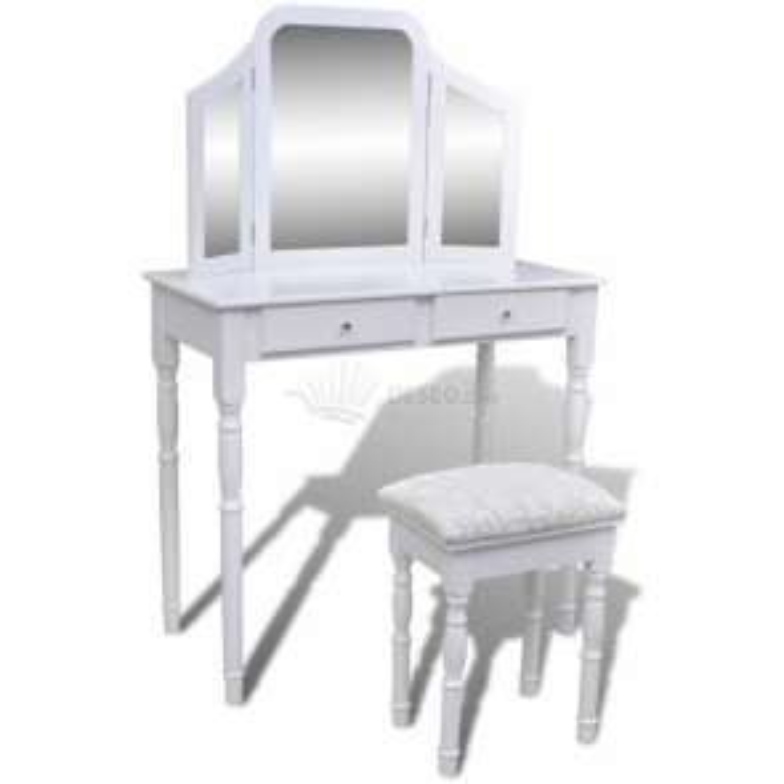 Toaletní stolek bílý, se 2 zásuvkami, stoličkou a zrcadlem