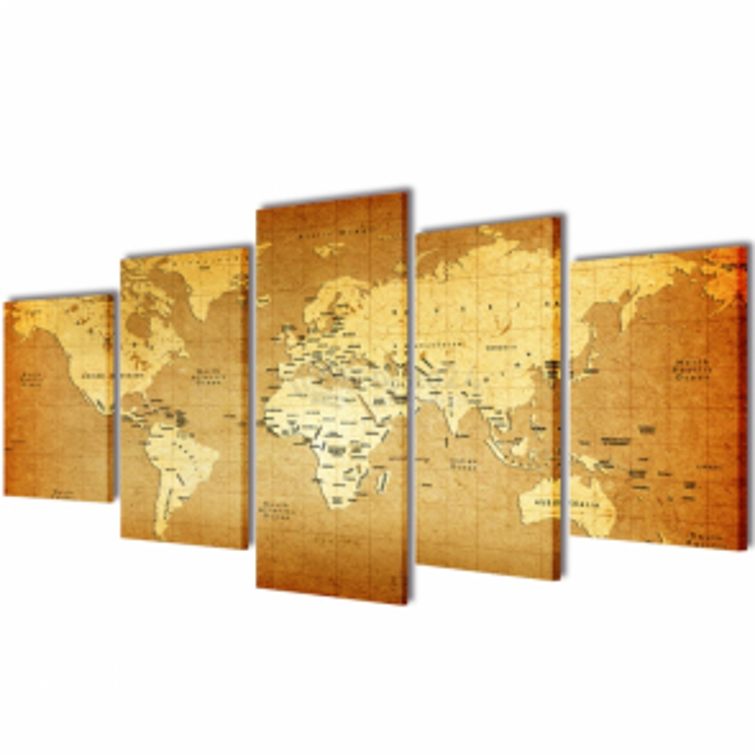 Sada obrazů, tisk na plátně, motiv mapa světa, 200 x 100 cm