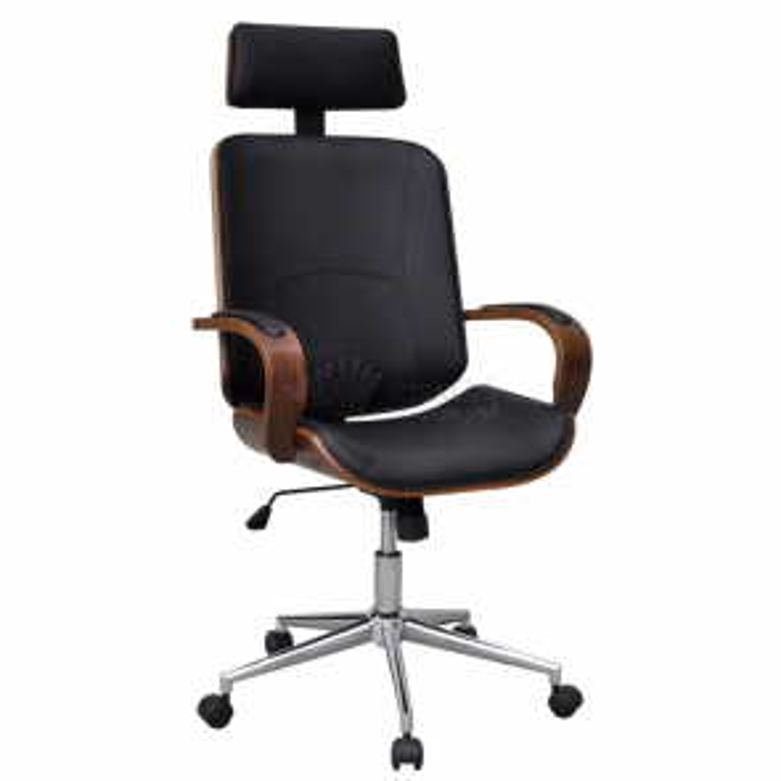 Otočná kancelářská ohýbaná koženková židle s opěrkou hlavy