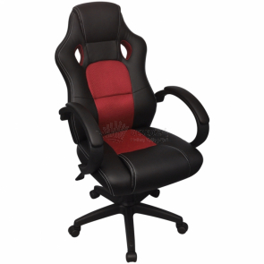 Ředitelské kancelářské křeslo v závodním stylu červená koženka