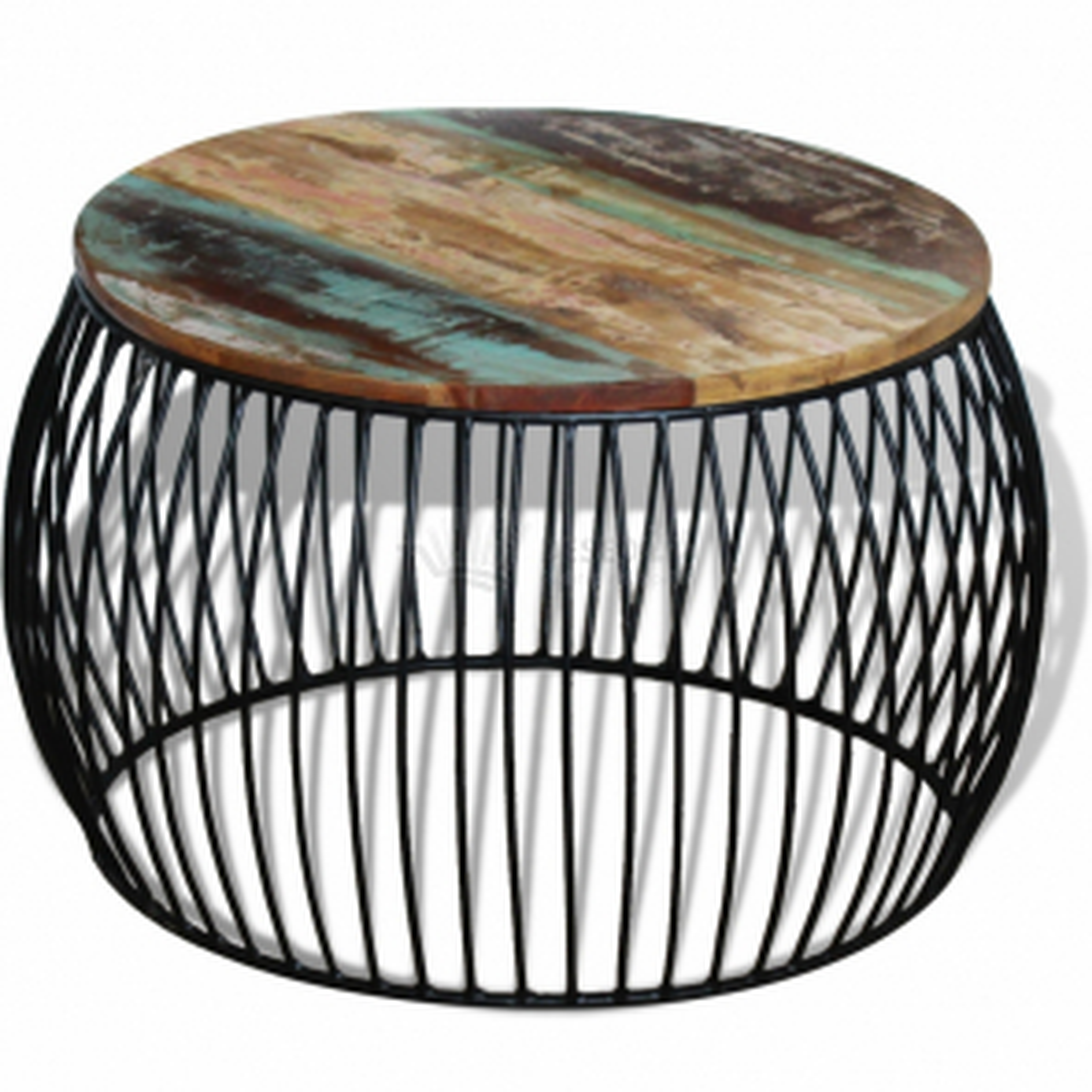 Konferenční stolek kulatý, masivní recyklované dřevo 68x35 cm
