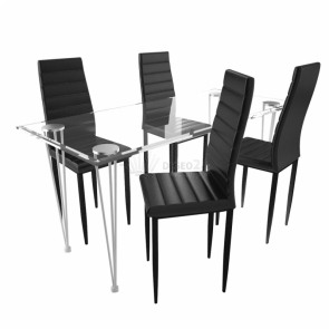 Jídelní set: černé židle štíhlé 4 ks a 1 skleněný stůl