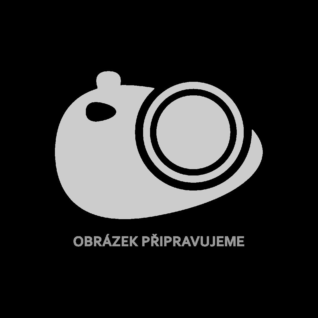 Jídelní set: bílé židle štíhlé 6 ks a 1 skleněný stůl