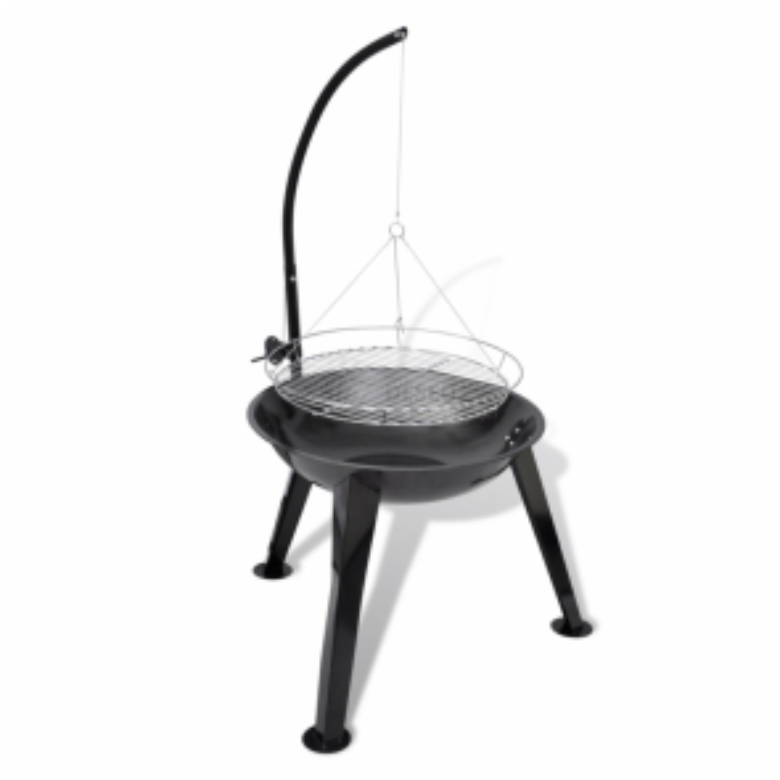 Stojanový závěsný kruhový gril na dřevěné uhlí - 58 cm