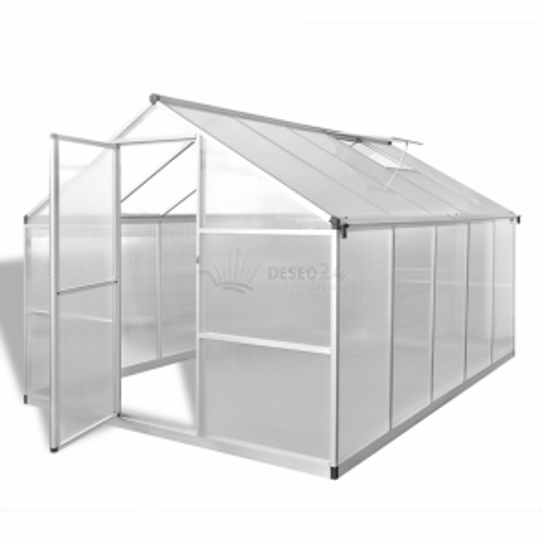 Zpevněný hliníkový skleník se základním rámem 7,55 m²