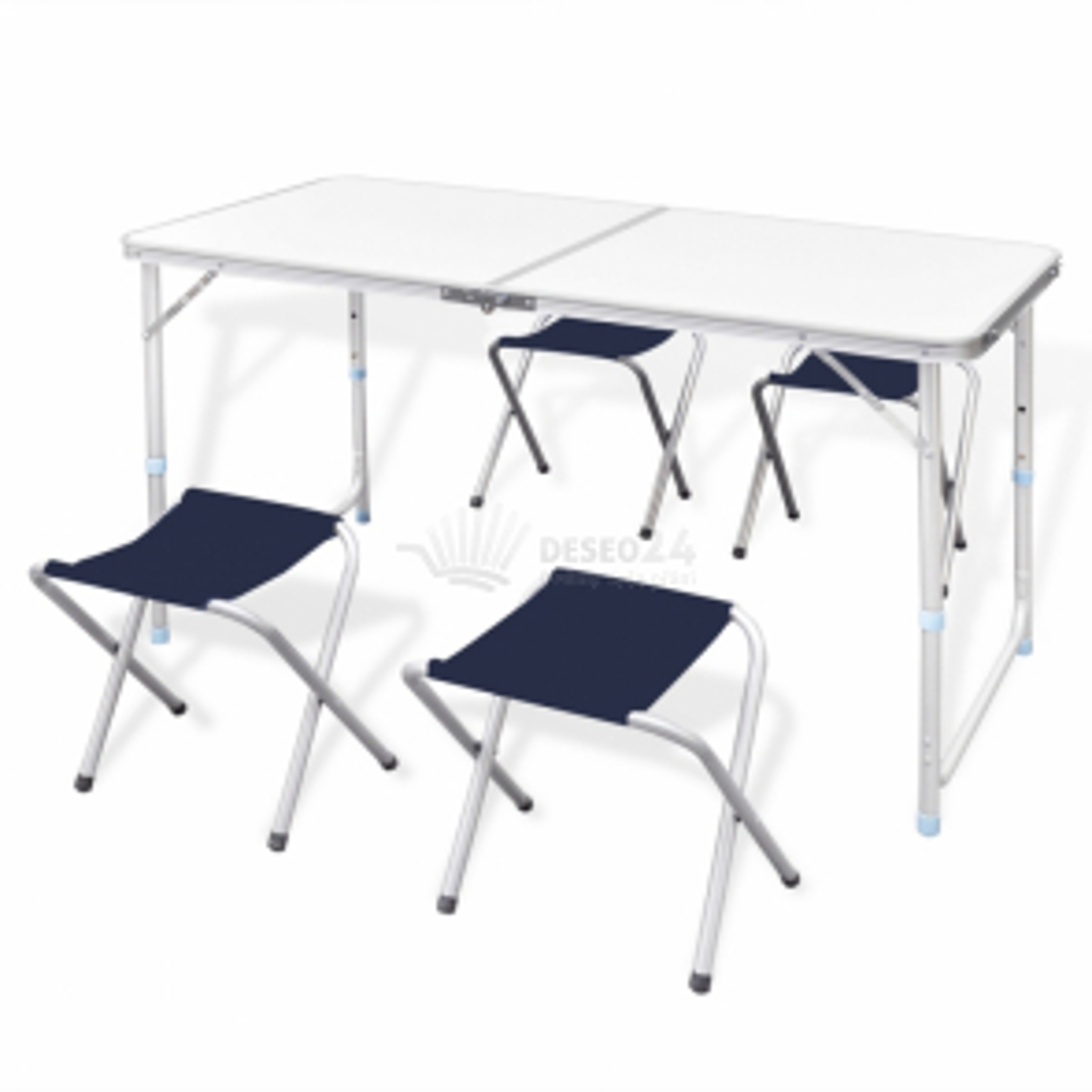 Skládací kempová sada stůl a 4 stoličky, nastavitelná výška 120x60 cm