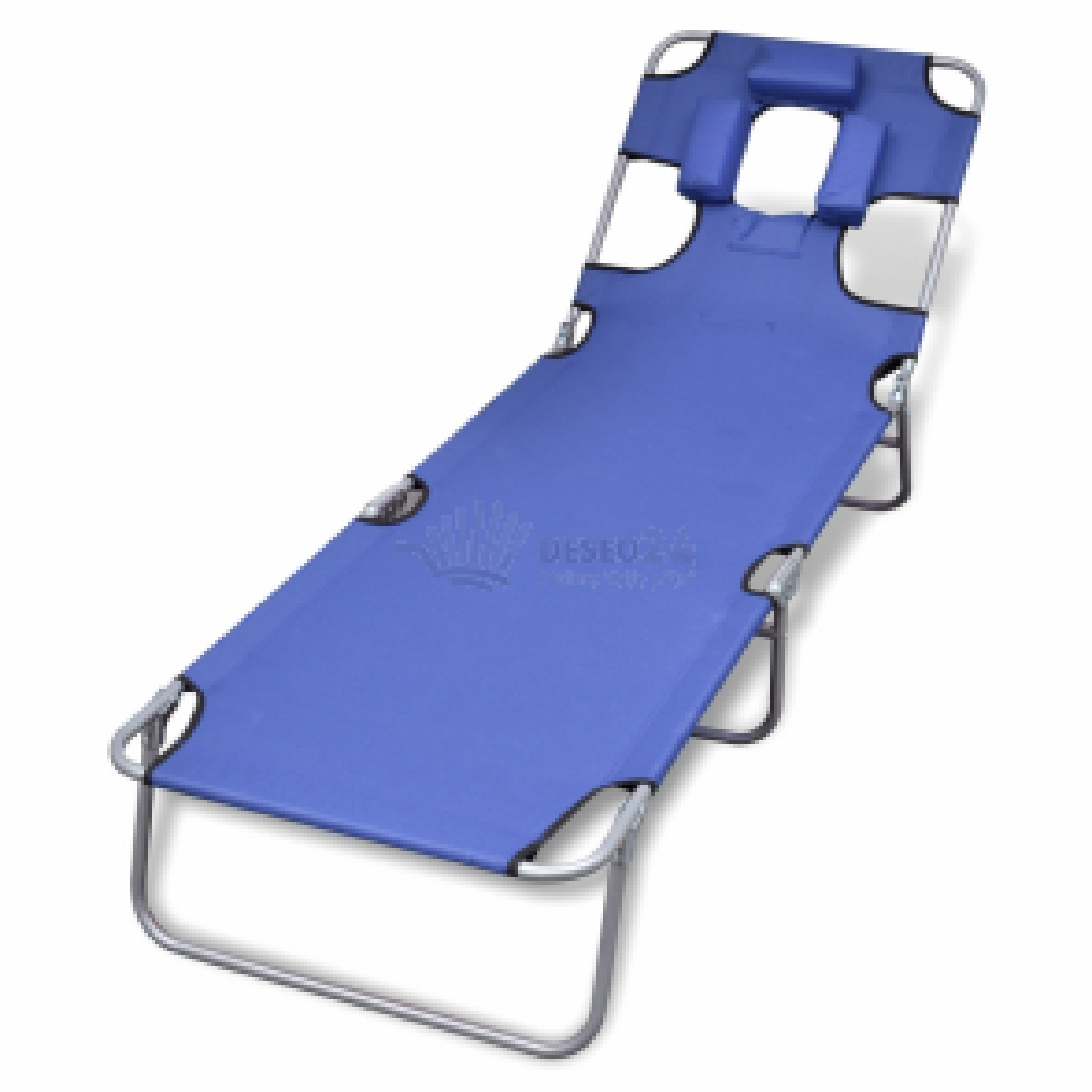 Skládací opalovací lehátko, podhlavník, nastavitelné opěradlo, modré