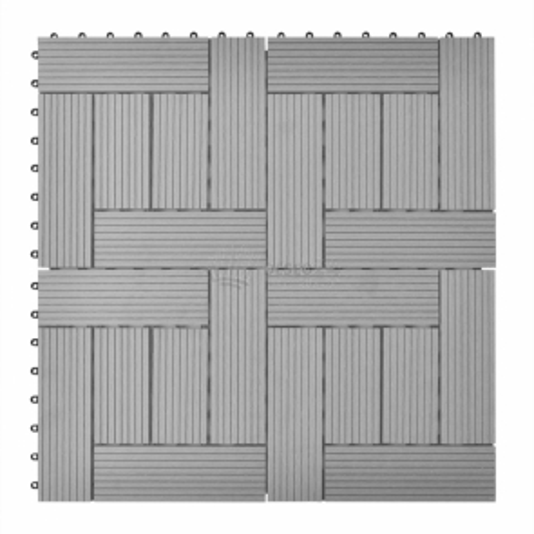 Šedé terasové dlaždice WPC 11 ks, 30x30 cm, 1 m2