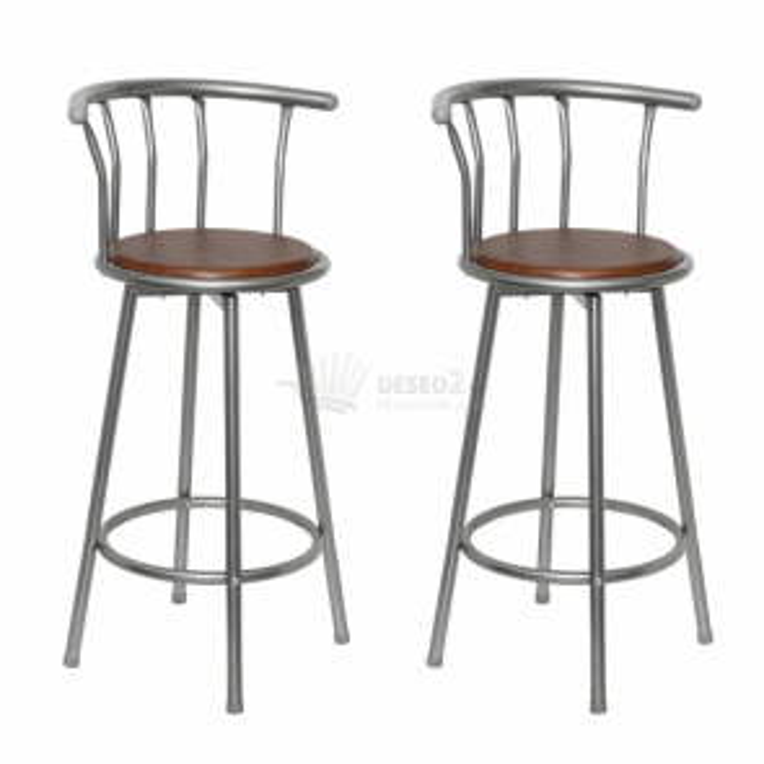 Barová židle dřevo a ocel (set 2 kusů)