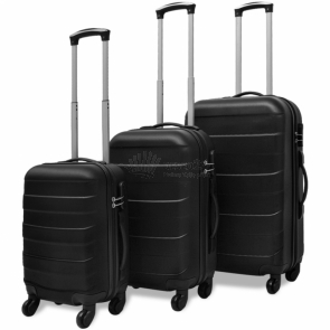 Sada tří skořepinových kufrů na kolečkách, černá