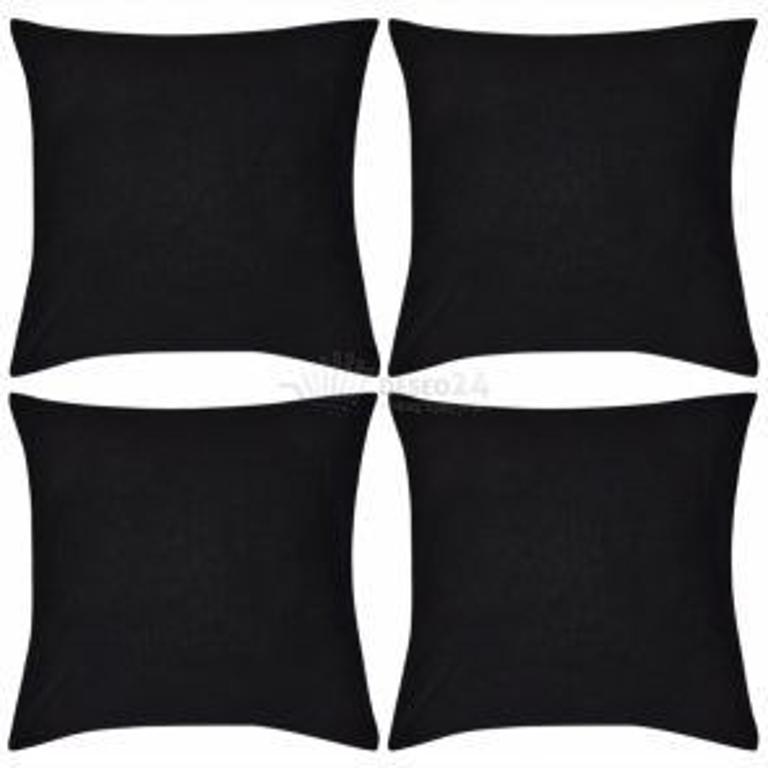 Černý povlak na polštář, 50 x 50 cm, bavlna, 4 ks