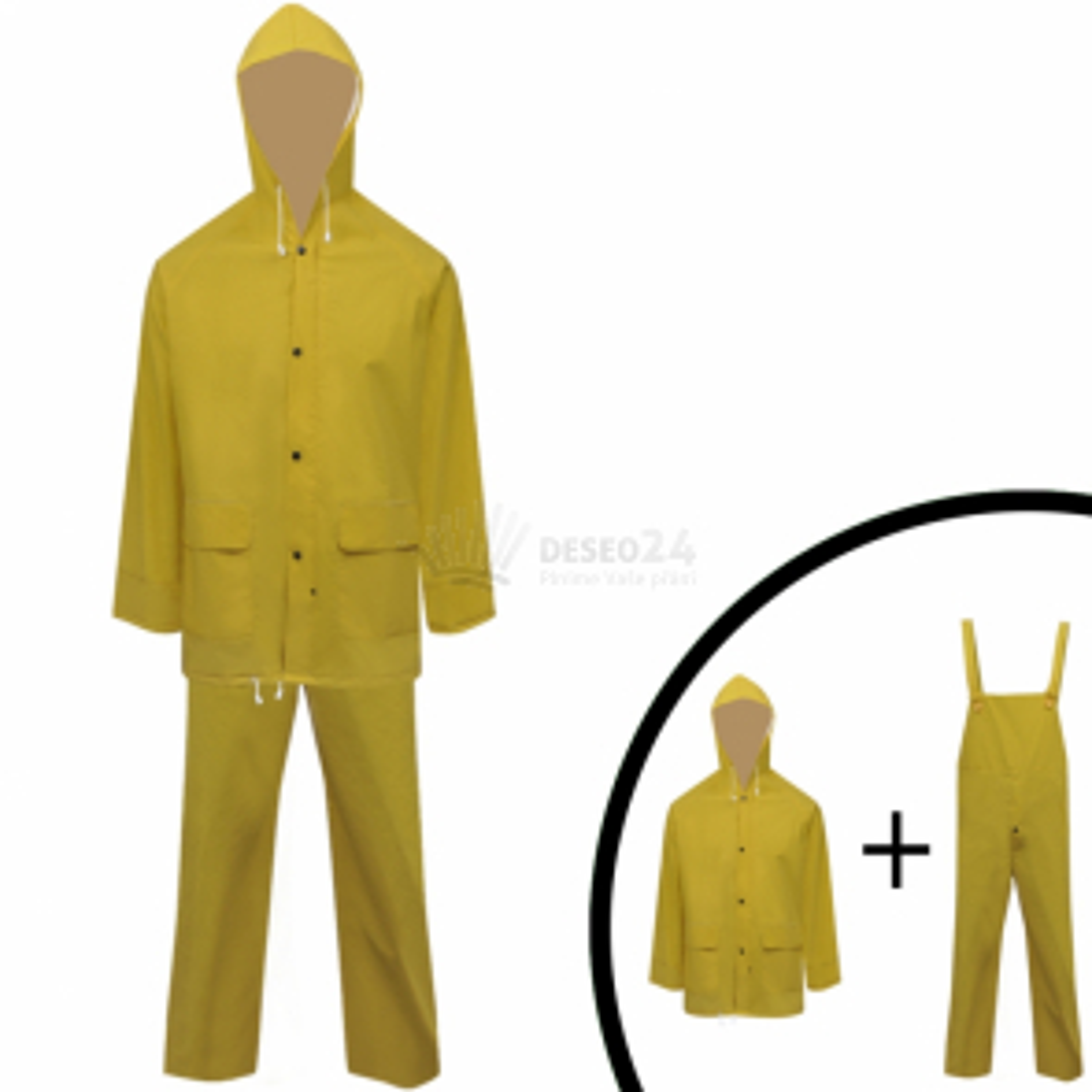 Nepromokavý oblek do deště, dvoudílný žlutý, vel. XXL