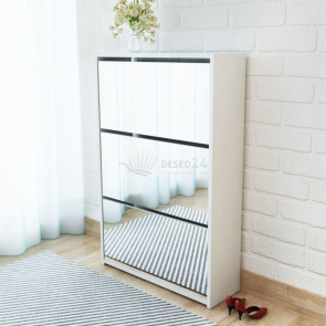 Botník třípatrový, zrcadlový, bílý 63x17x102,5 cm [243048]