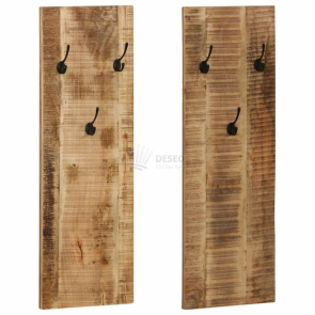Nástěnný věšák 2 ks masivní mangovníkové dřevo 36 x 110 x 3 cm [246025]