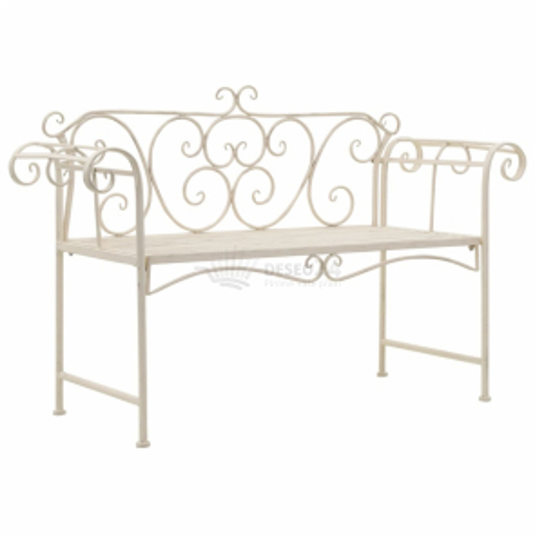 Zahradní lavice 132 cm kovová starožitná bílá [45430]