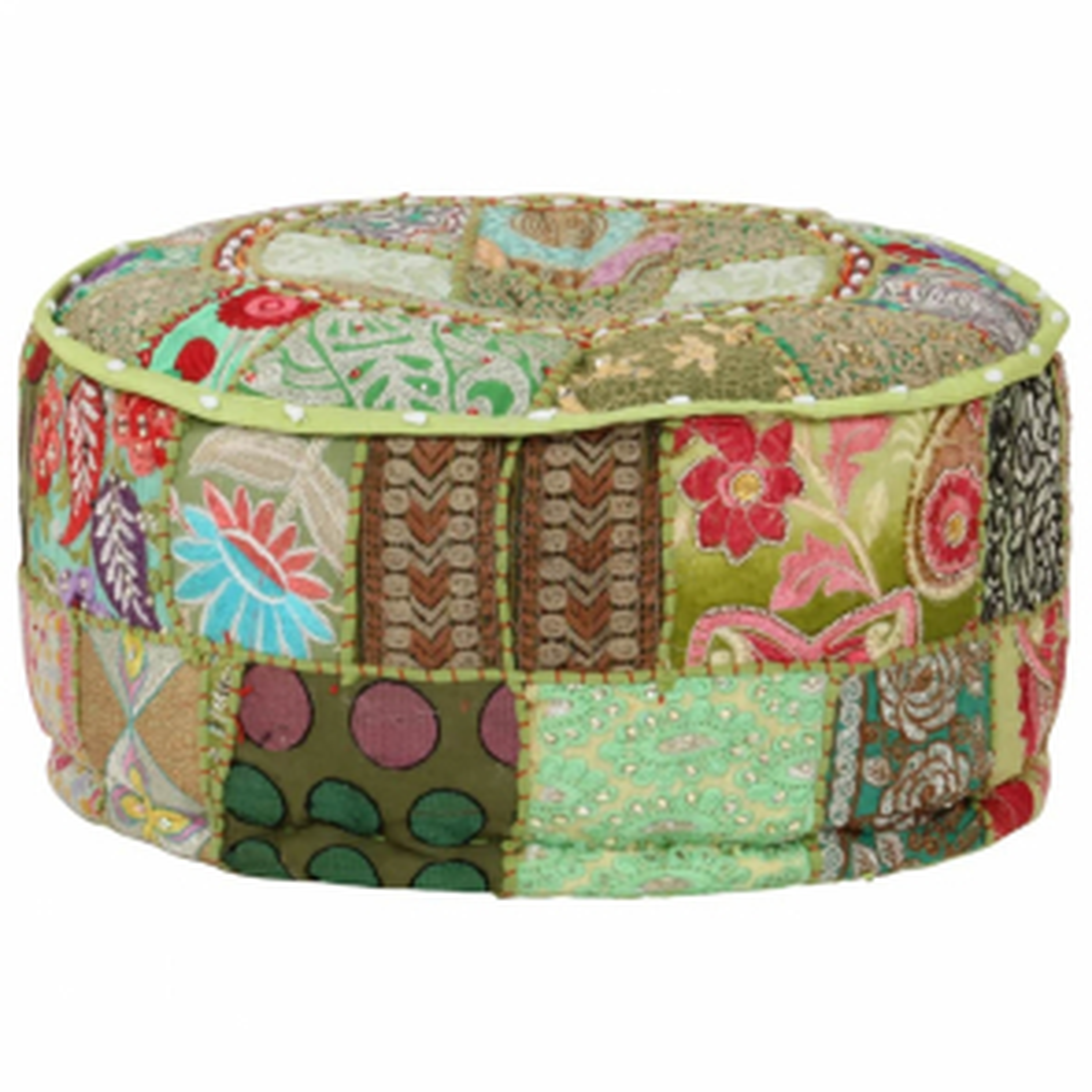 Sedací puf patchwork kulatý bavlna ruční výroba 40x20 cm zelený [246573]