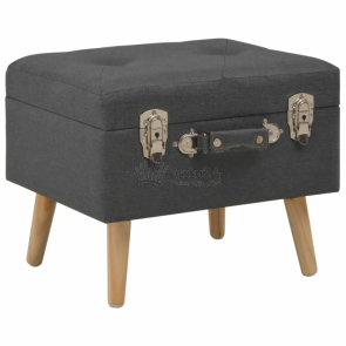 Stolička s úložným prostorem 40 cm tmavě šedá textil