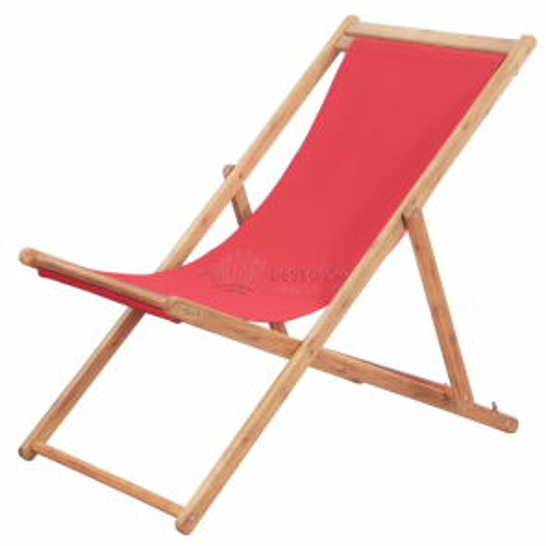 Skládací plážové křeslo látka a dřevěný rám červené [43999]