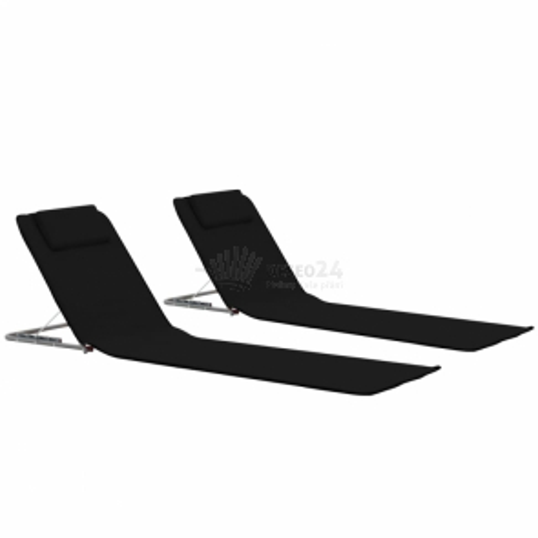 Skládací plážové podložky 2 ks ocel a látka černé [44328]