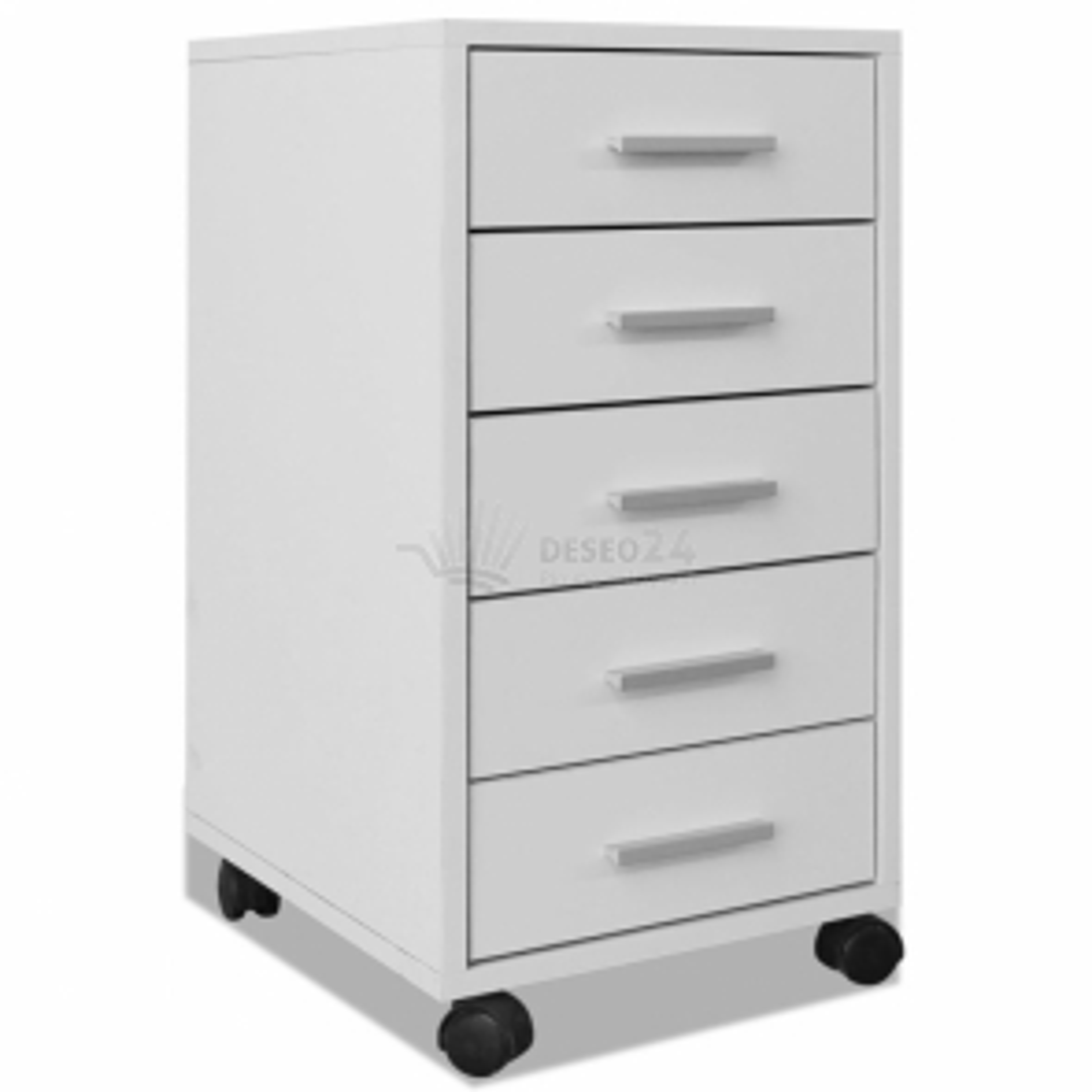 vidaXL Kancelářský zásuvkový díl s kolečky 5 zásuvek bílý [243064]
