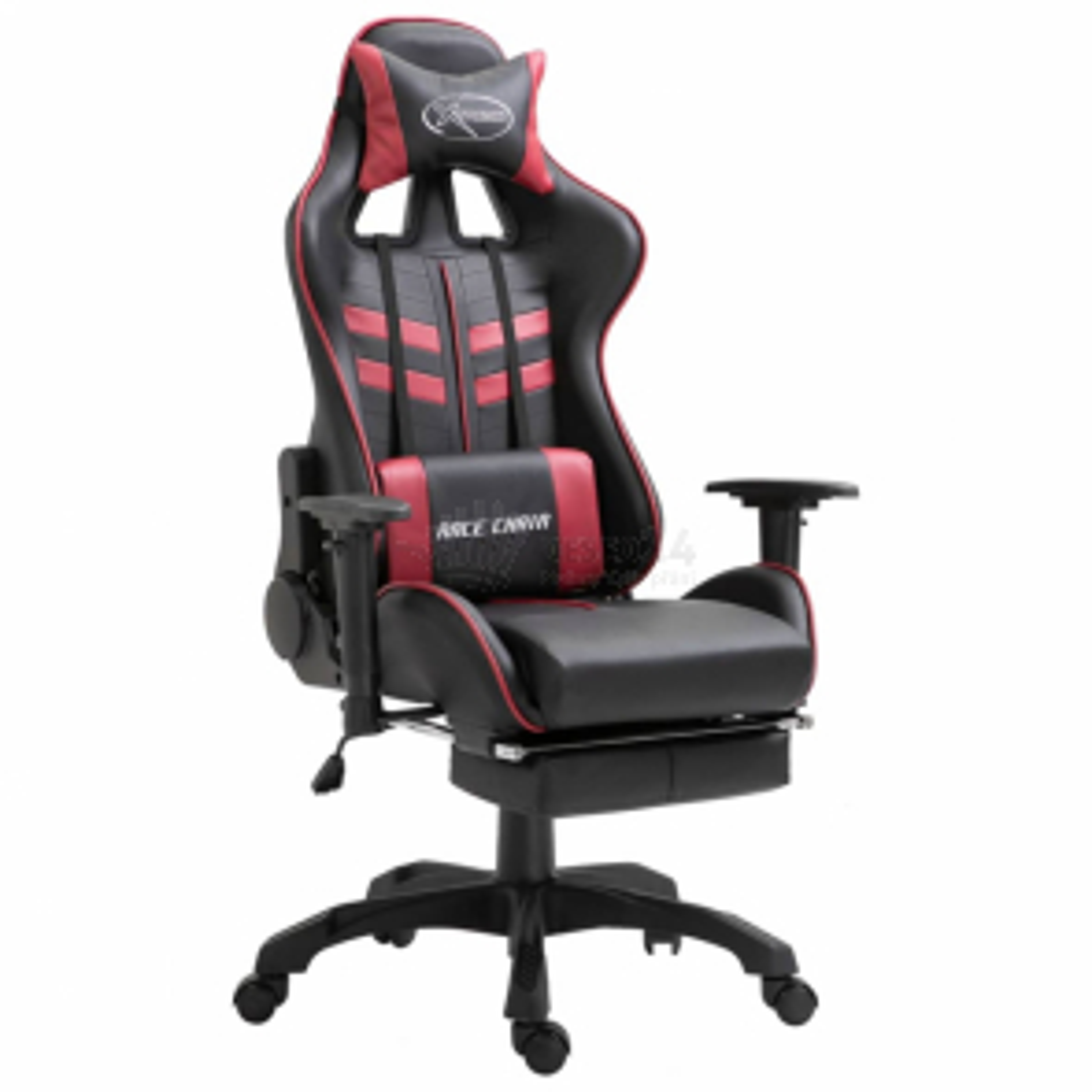 vidaXL Herní židle s podnožkou vínová umělá kůže [20207]