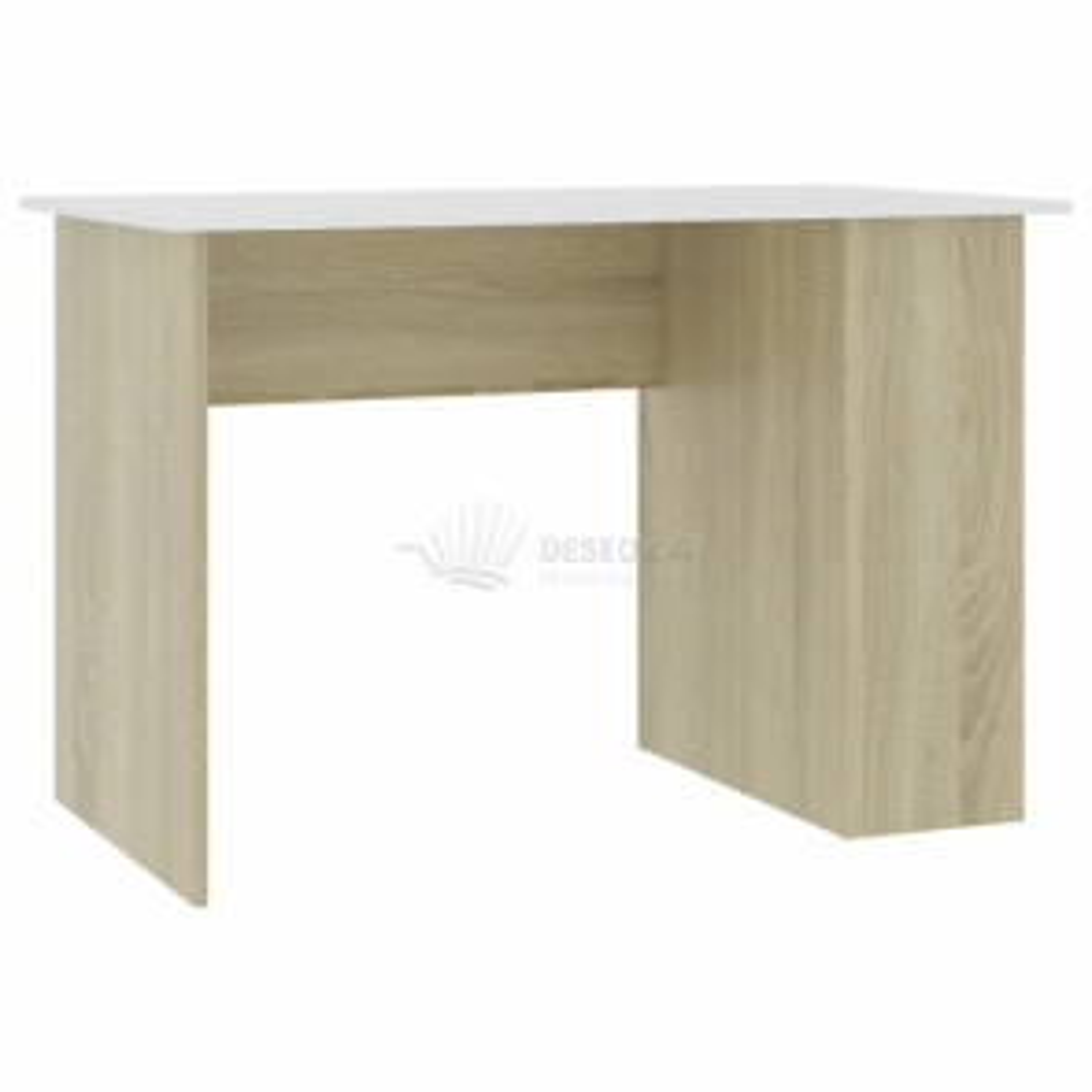 vidaXL Psací stůl bílý a dub sonoma 110 x 60 x 73 cm dřevotříska [800581]