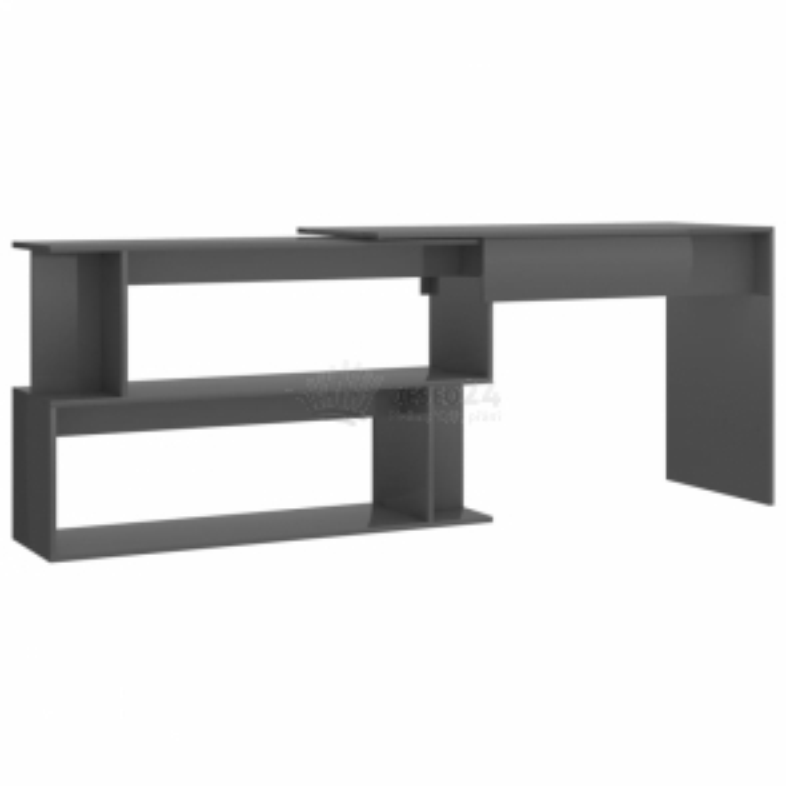 vidaXL Rohový psací stůl šedý vysoký lesk 200 x 50 x 76 cm dřevotříska [801106]