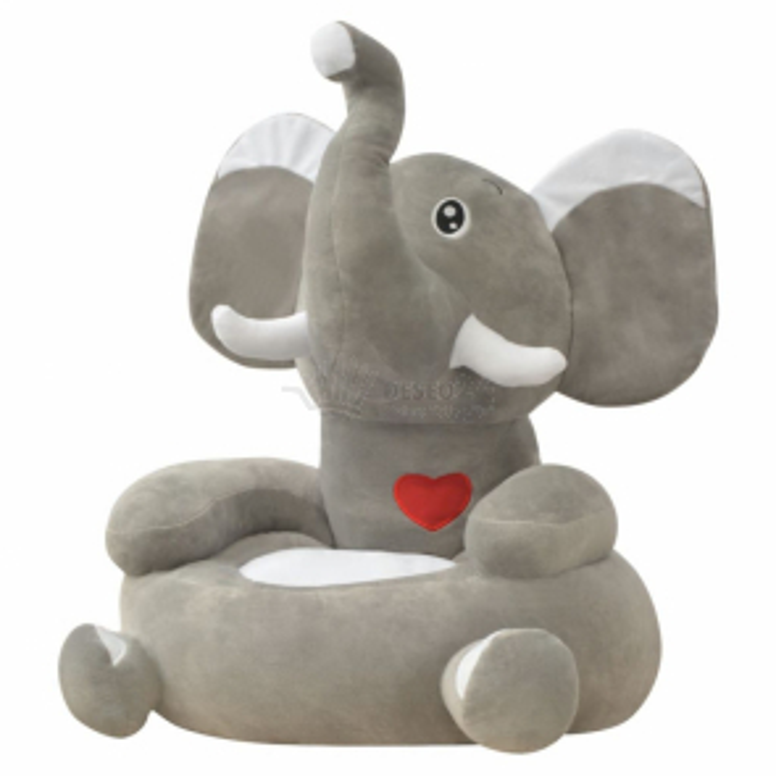 vidaXL Plyšové dětské křeslo slon šedý [80159]