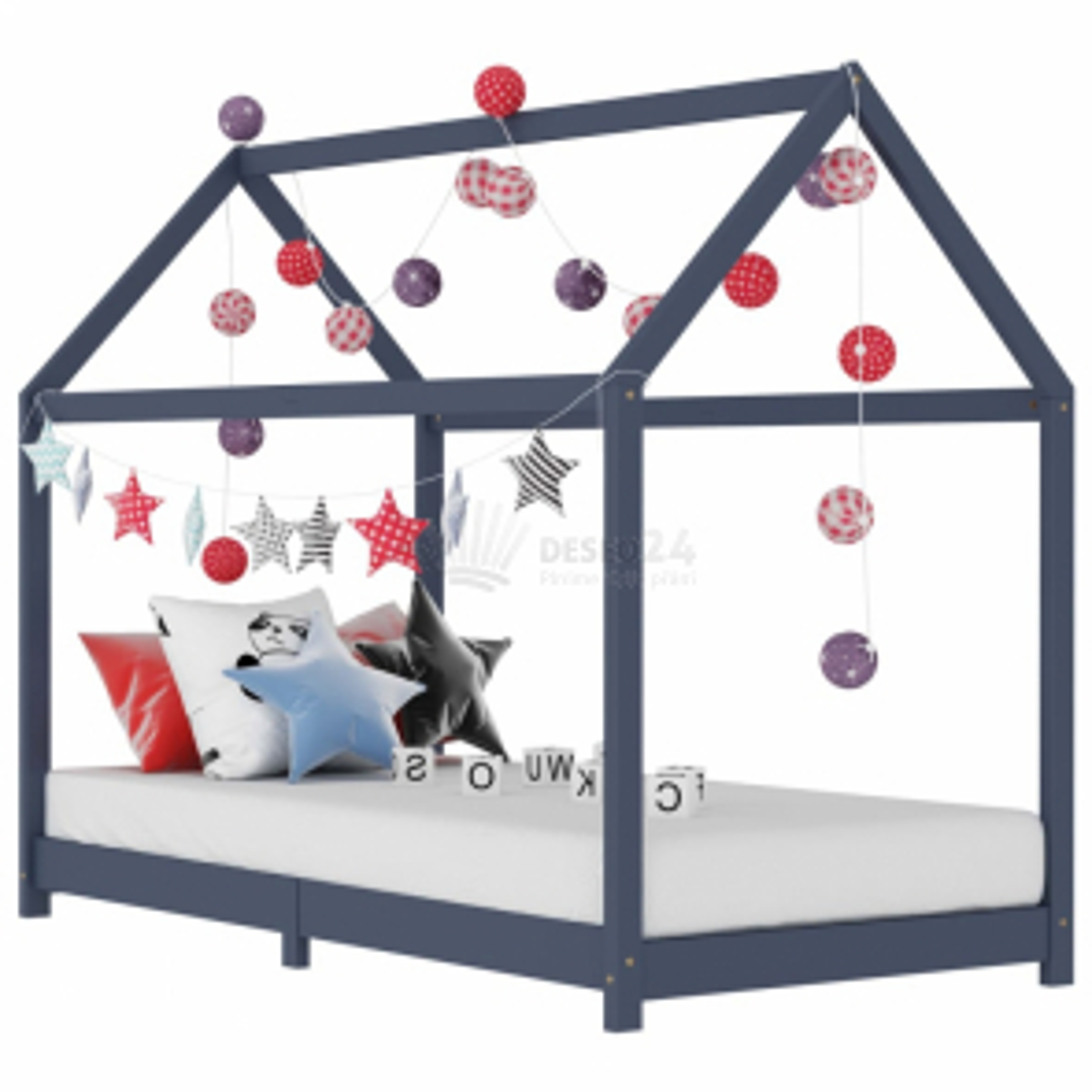 vidaXL Rám dětské postele šedý masivní borové dřevo 90 x 200 cm [283354]